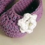 Rose Baby Booties - lavender and wh..