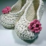 Antique Ivory Adult Slippers with p..