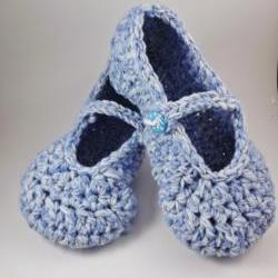 Mary Jane Slippers - crochet - for women - blue and white