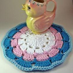 Crochet Doily, in pinks and blues