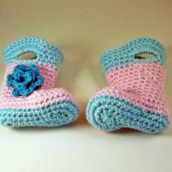 Crochet Baby Booties, pink and blue, rain galosh style ready to ship size 0 to 3 months