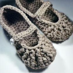 Mary Jane Slippers - crochet - for women - brown