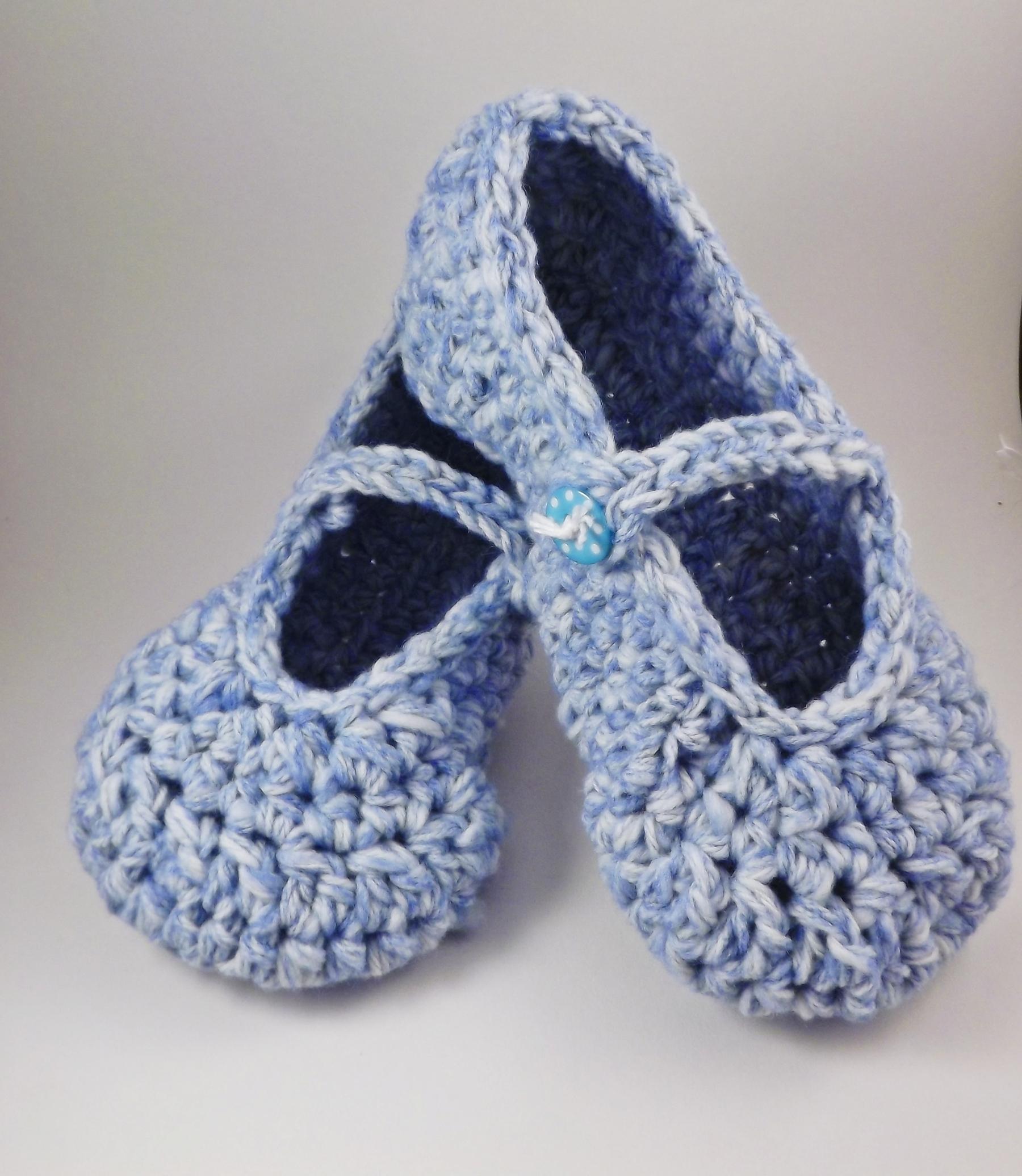 Mary Jane Slippers Crochet For Women Blue And White On Luulla