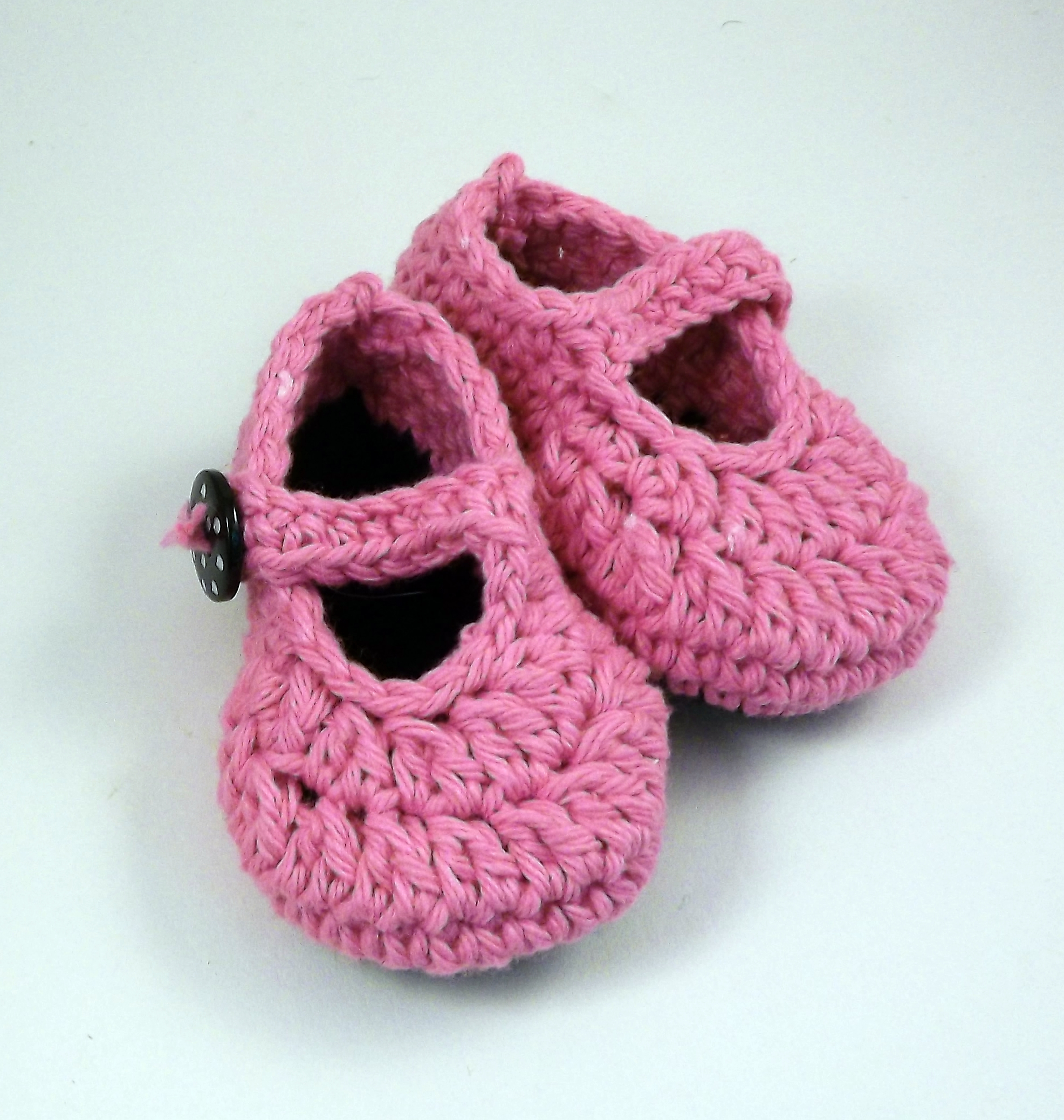 caec0495a3ae7 Crochet Baby Booties, Pink Mary Jane Style, Ready To Ship on Luulla